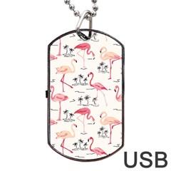 Flamingo Pattern Dog Tag USB Flash (One Side)