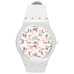 Flamingo Pattern Round Plastic Sport Watch (m)