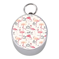 Flamingo Pattern Mini Silver Compasses