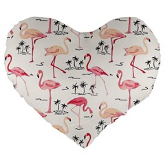 Flamingo Pattern Large 19  Premium Flano Heart Shape Cushions
