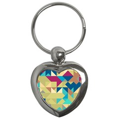 Scattered Pieces In Retro Colors Key Chain (heart)
