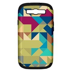 Scattered Pieces In Retro Colors Samsung Galaxy S Iii Hardshell Case (pc+silicone)