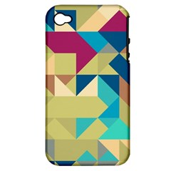 Scattered Pieces In Retro Colors Apple Iphone 4/4s Hardshell Case (pc+silicone)