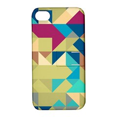 Scattered Pieces In Retro Colors Apple Iphone 4/4s Hardshell Case With Stand