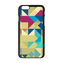Scattered pieces in retro colors Apple iPhone 6 Black Enamel Case