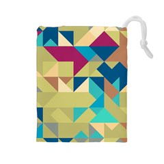 Scattered pieces in retro colors Drawstring Pouch
