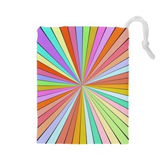 Colorful beams Drawstring Pouch