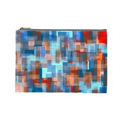 Blue Orange Watercolors Cosmetic Bag (large)