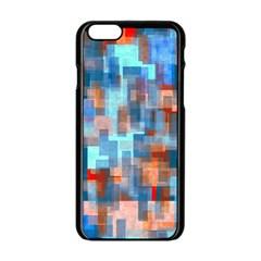 Blue Orange Watercolors Apple Iphone 6 Black Enamel Case