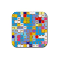 Circles And Rhombus Pattern Rubber Coaster (square)