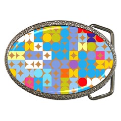 Circles And Rhombus Pattern Belt Buckle
