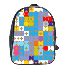 Circles And Rhombus Pattern School Bag (large)