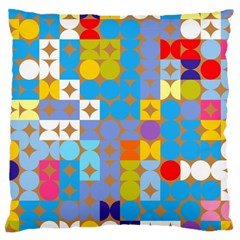 Circles And Rhombus Pattern Large Cushion Case (two Sides)