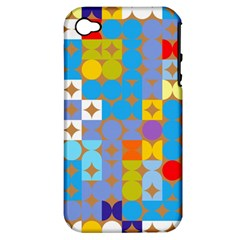 Circles And Rhombus Pattern Apple Iphone 4/4s Hardshell Case (pc+silicone)