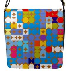 Circles And Rhombus Pattern Flap Closure Messenger Bag (s)