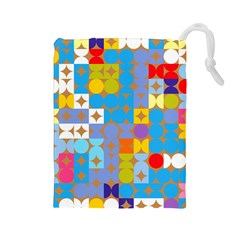 Circles and rhombus pattern Drawstring Pouch