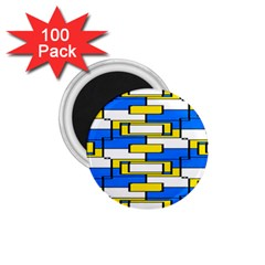 Yellow Blue White Shapes Pattern 1 75  Magnet (100 Pack)