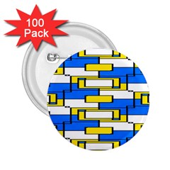 Yellow Blue White Shapes Pattern 2 25  Button (100 Pack)