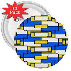 Yellow Blue White Shapes Pattern 3  Button (10 Pack)