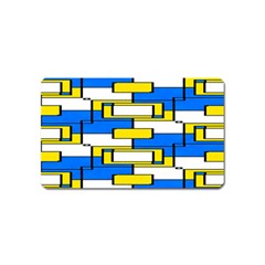 Yellow Blue White Shapes Pattern Magnet (name Card)