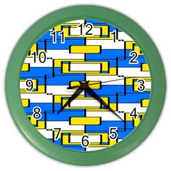 Yellow Blue White Shapes Pattern Color Wall Clock