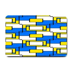 Yellow Blue White Shapes Pattern Small Doormat