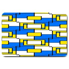Yellow Blue White Shapes Pattern Large Doormat