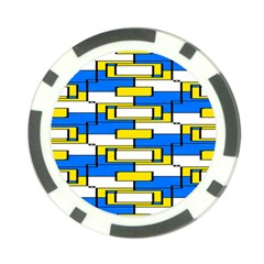 Yellow Blue White Shapes Pattern Poker Chip Card Guard (10 Pack)