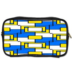 Yellow Blue White Shapes Pattern Toiletries Bag (one Side)