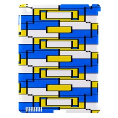 Yellow Blue White Shapes Pattern Apple Ipad 3/4 Hardshell Case (compatible With Smart Cover)