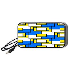 Yellow Blue White Shapes Pattern Portable Speaker