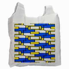 Yellow Blue White Shapes Pattern Recycle Bag