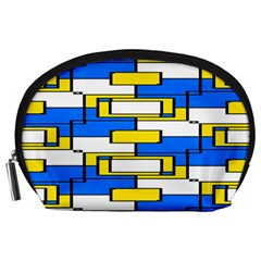 Yellow Blue White Shapes Pattern Accessory Pouch