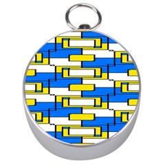 Yellow Blue White Shapes Pattern Silver Compass