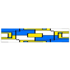 Yellow Blue White Shapes Pattern Flano Scarf