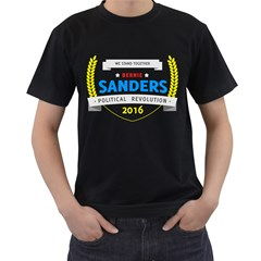 Bernie We Stand Men s T-Shirt (Black) (Two Sided)