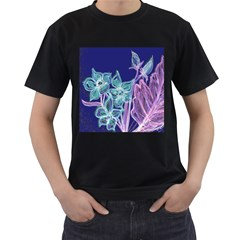 Purple, Pink Aqua Flower style Men s T-Shirt (Black) (Two Sided)