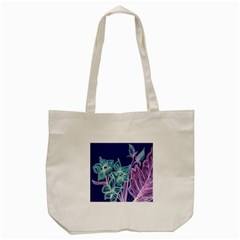 Purple, Pink Aqua Flower Style Tote Bag (cream)