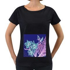 Purple, Pink Aqua Flower Style Women s Loose Fit T Shirt (black)