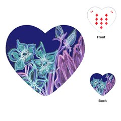 Purple, Pink Aqua Flower style Playing Cards (Heart)