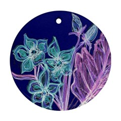 Purple, Pink Aqua Flower Style Round Ornament (two Sides)