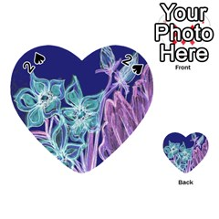 Purple, Pink Aqua Flower Style Playing Cards 54 (heart)