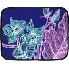 Purple, Pink Aqua Flower style Fleece Blanket (Mini)