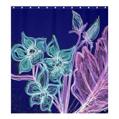 Purple, Pink Aqua Flower style Shower Curtain 66  x 72  (Large)