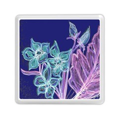 Purple, Pink Aqua Flower Style Memory Card Reader (square)