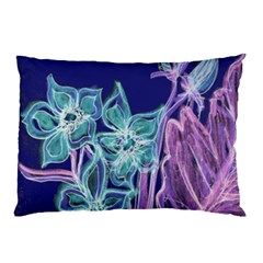 Purple, Pink Aqua Flower Style Pillow Cases (two Sides)
