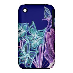 Purple, Pink Aqua Flower Style Apple Iphone 3g/3gs Hardshell Case (pc+silicone)