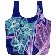 Purple, Pink Aqua Flower Style Full Print Recycle Bags (l)