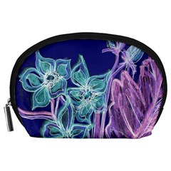 Purple, Pink Aqua Flower style Accessory Pouches (Large)