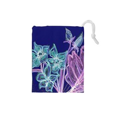 Purple, Pink Aqua Flower style Drawstring Pouches (Small)